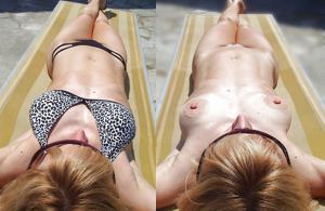 Худая немка в бикини без плавок - фото #12