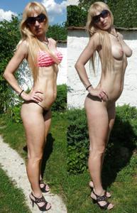 Худая немка в бикини без плавок - фото #14