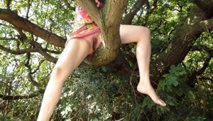 Голая баба на дереве в парке - фото #1