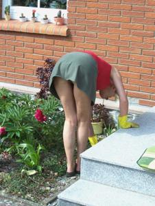 Домохозяйка в огороде без трусиков к короткой юбке - фото #5